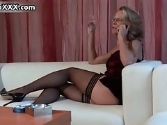 Dirty Mature Wife In Sexy Stockings Masturbating By Aus