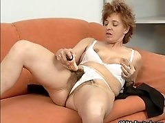 Dirty mature slut dildo fucks her hairy wet pussy by ol