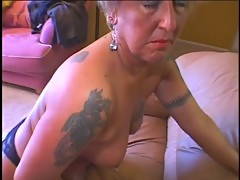 Hot sexy granny masturbates and get fucked before a big load