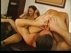 Two nasty lesbos share and eat cum