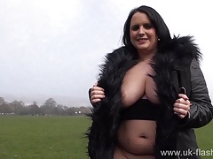 Busty milf Sarah Janes flashing huge tits and public exhibit