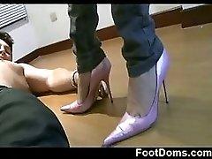 Blonde Camila is in high heels
