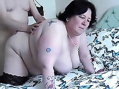 Fucking BBW doggy swinging tits2