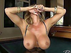 Blonde MILF rides the sybian sex machine