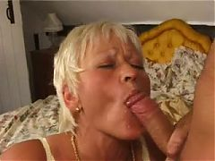Horny blonde bitchswallows hot cum