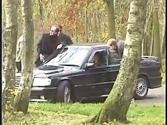 2 french dogging in a car parking