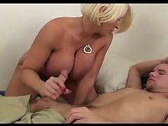 Blonde Busty Milf Alura Jenson gives a great Handjob