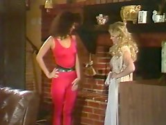 Kim Carson and blonde get double dicked for 80s foursome scene