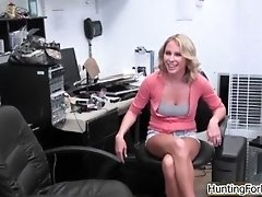 Sexy Blonde Babe Gets Horny Showing Off Her Body By Hun