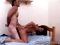 Busty caregiver pounded like a bitch by a horny cripple