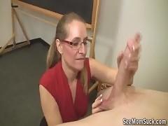Mature Blonde Sucks A Big Boner