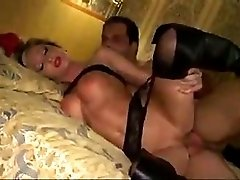 Amateur milf in leather boots butt fucking