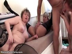 Three Horny Mature Sluts Are On The Sofa And That Dude