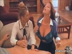 Double Sexy Milf Handjob