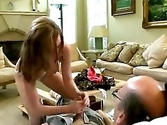 Cute Girl Taking Good Care Of Old Man
