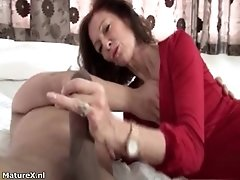 Gorgeous MILF Is Fucked By Young Guy On The Sofa She R
