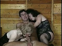Two Hairy Mature Midgets in a Threesome