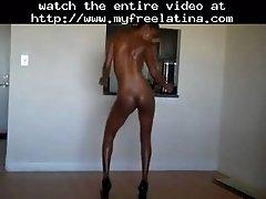 Slim Body Huge Tits Ebony Oily Striptease Ameman Lati