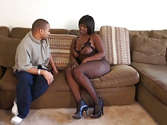 Hunk Pummels Big Black Booty Hard Doggy Style On Sofa