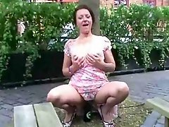 Crazy Mature Flasher Fucking Herself With Bottle