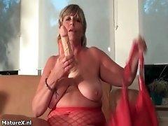 Nasty blonde slut goes crazy dildo fucking her cunt by