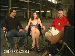 Lisa Marie Double Teamed In Warehouse Orgy Blowjob