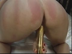 Sexy blonde uses a dildo and vibrator on her tight and spreads pussy
