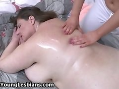 Fat lesbian mature wife gets a naked body massage from