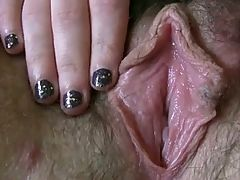 Sexy chubby masterbates her meaty hairy pussy