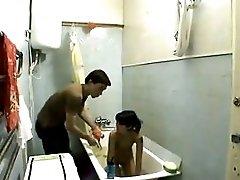 2 teens fucking in a grotty bathroom