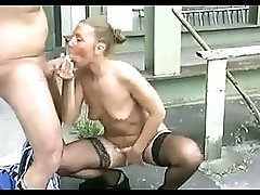 Horny german mature gets her holes fucked outdoor
