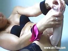 Huge Rubber Fist And Vodka Bottle Masturbation