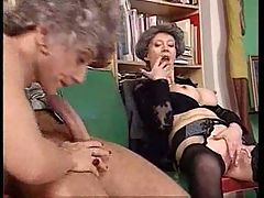 Two Grannies One Cock