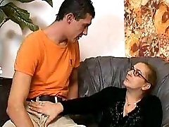 Granny In Fishnets Fucks And Cum On Glasses