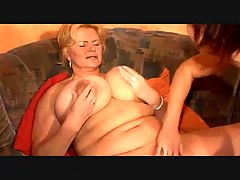 Big Breasted Lesbian Granny and her Young Girl