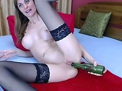 Amateur Cam Girl Plays Solo With A Bottle