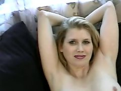 Busty Blonde Babe Strips And Take Cock On A Couch