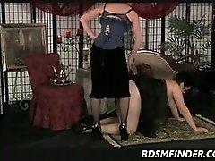 Chubby Mature Femdom Spanking In Stockings