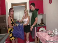 Hot Mature And Teen Lesbian Scene On The Kitchen