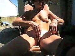 Wife masturbates in the backyard by WF