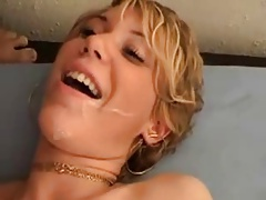 French MILF in stockings and boots anal threesome
