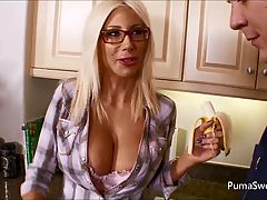 Puma Gets Cum on Her Glasses from Maintenance Man!