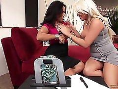 Busty Milfs Jessica Bangkok And Nikki Phoenix Go Lesbian