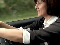Sexy milf masturbates in her car