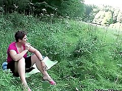 The outdoors wets grandma s appetite for cum