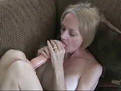 Horny mature woman masturbates