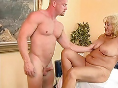 Busty And Chubby Granny Fucked By A Bald Guy