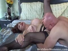 Bald guy fucks big breasted redhead