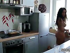 Son Caught Step Mom Naked in Kitchen Seduce