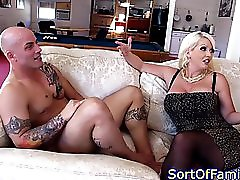 Glamour stepmom sucks cock with stepdaughter